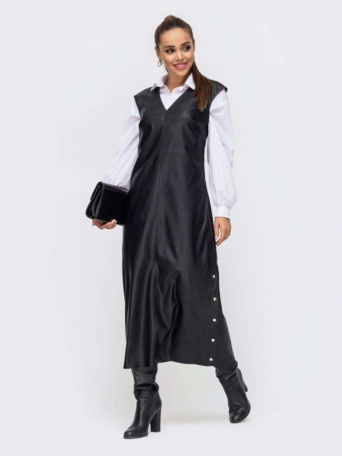 Длинное платье из эко-кожи с разрезами по бокам чёрное 50654, фото 1