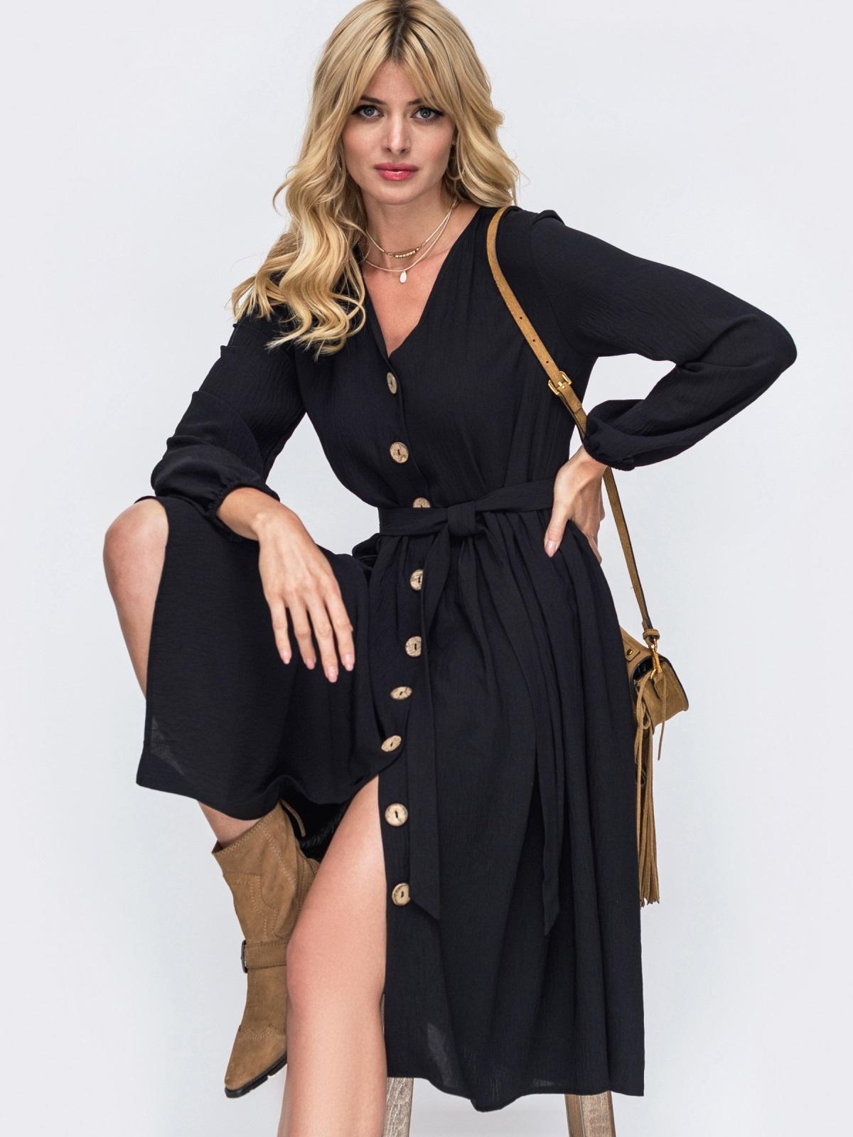 Платье-миди черного цвета на пуговицах по всей длине 50363, фото 1