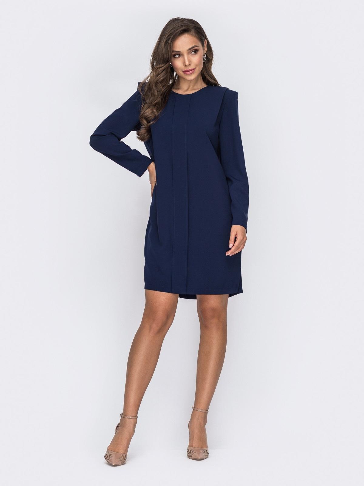 Прямое платье тёмно-синего цвета с подплечниками 50659, фото 1