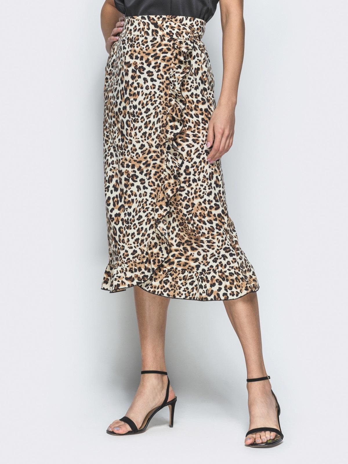 Юбка с анималистическим принтом на запах коричневая - 38421, фото 1 – интернет-магазин Dressa