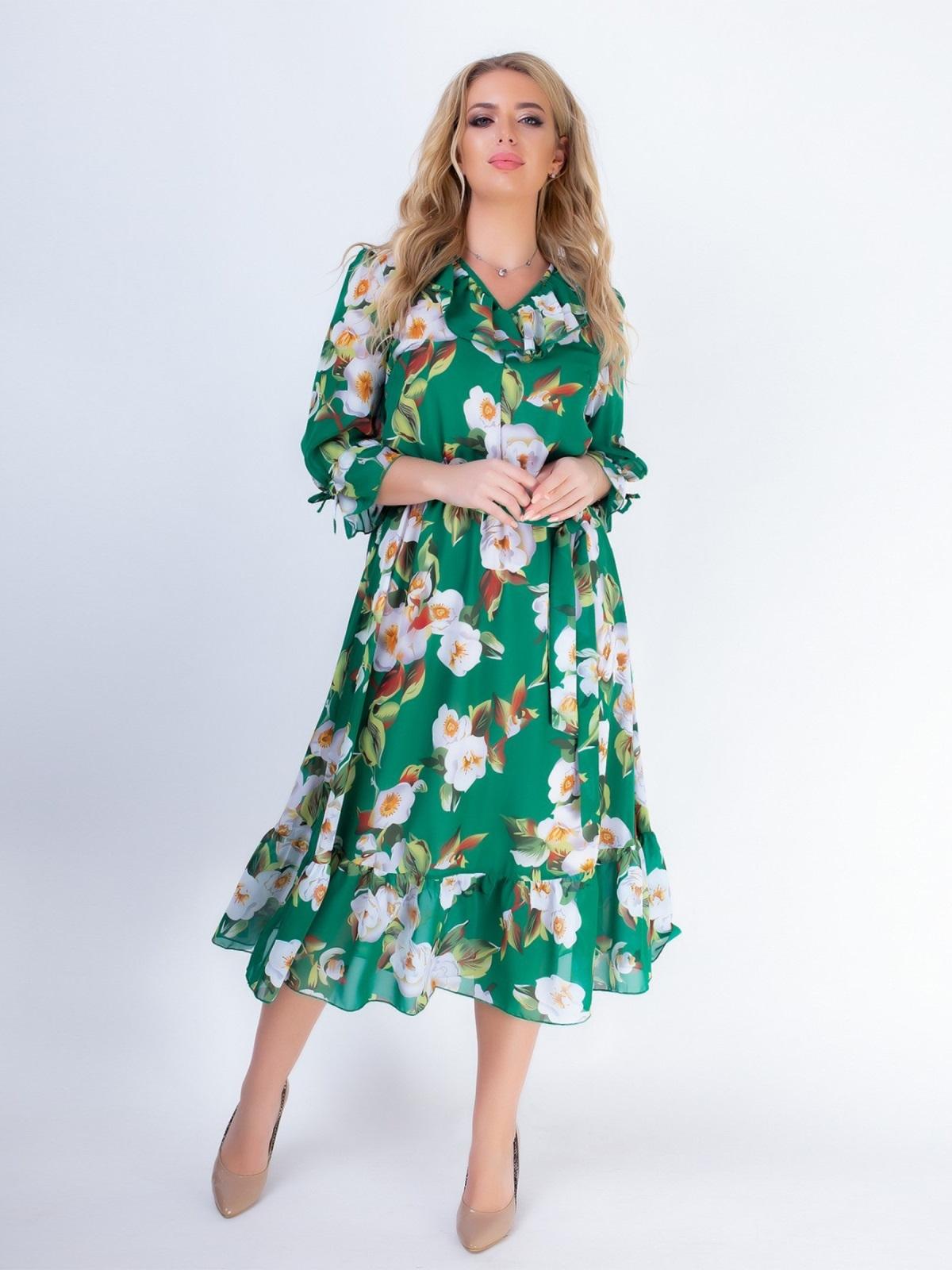 Зеленое платье батал с принтом и резинкой по талии 46528, фото 1