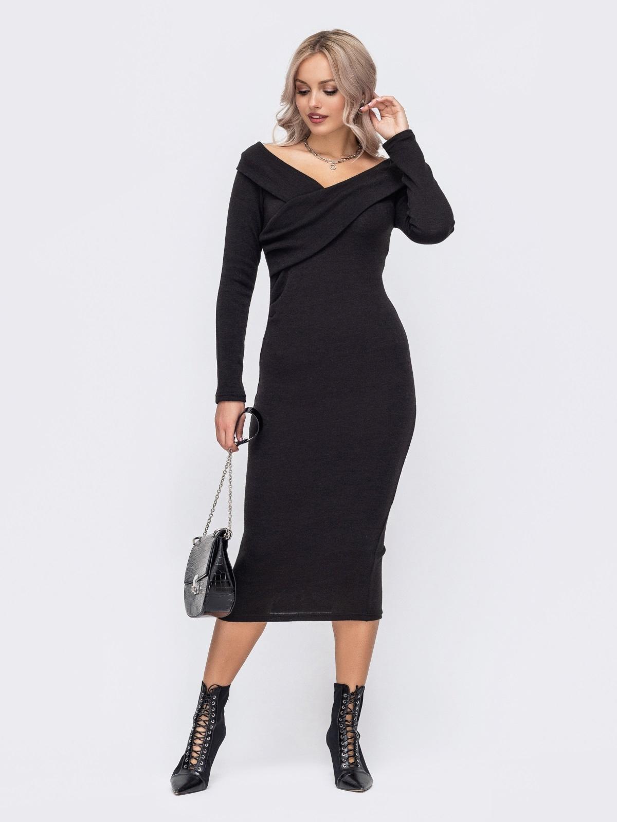 Облегающее платье с широким V-образным вырезом черное 50888, фото 1