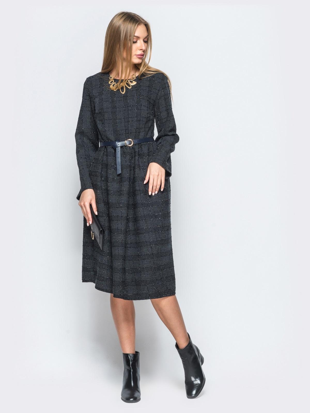 Платье из костюмной ткани с мягкими складками на юбке - 17468, фото 1 – интернет-магазин Dressa