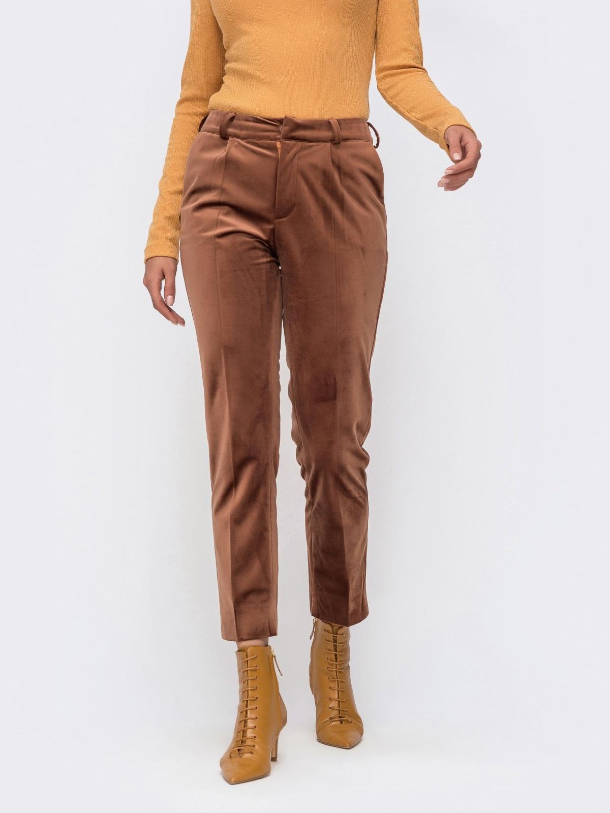 Укороченные брюки из бархата со шлевками коричневые 41721, фото 1