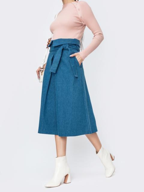 Джинсовая юбка с карманами по бокам голубая 44855, фото 1