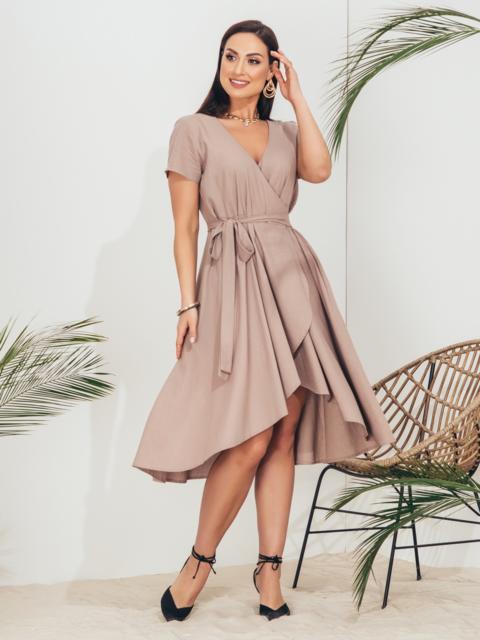 Бежевое платье на запах большого размера - 46351, фото 1 – интернет-магазин Dressa