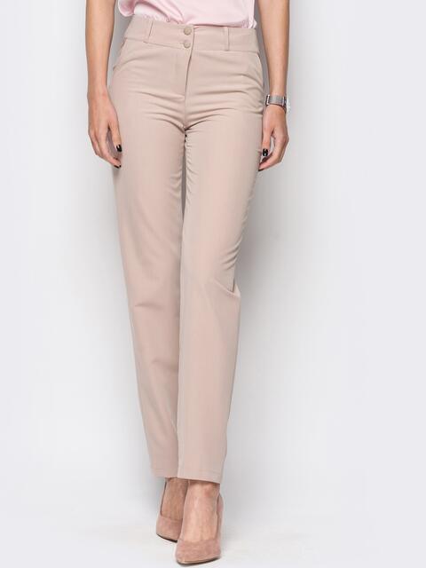 Бежевые брюки из костюмной ткани с карманами на полочке - 12779, фото 1 – интернет-магазин Dressa