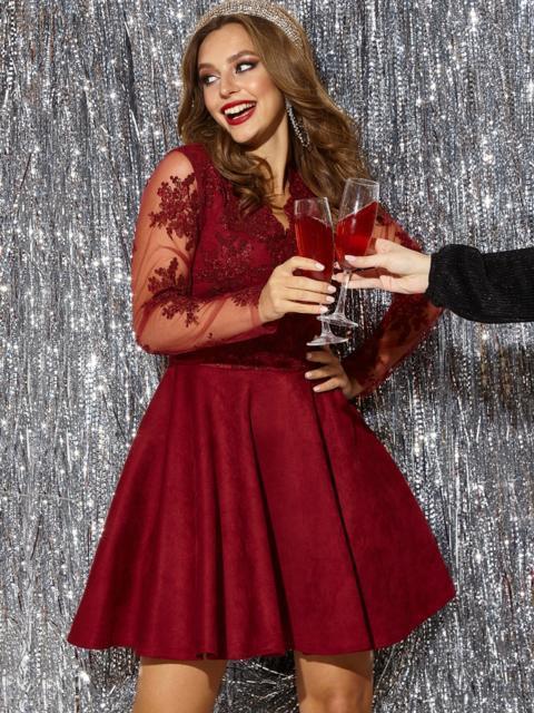 Бордовое платье с юбкой-полусолнце и кружевным верхом - 42854, фото 1 – интернет-магазин Dressa
