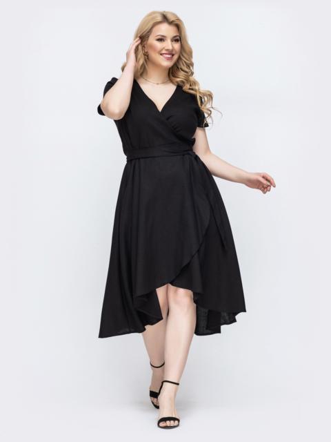 Чёрное платье на запах большого размера 46352, фото 1