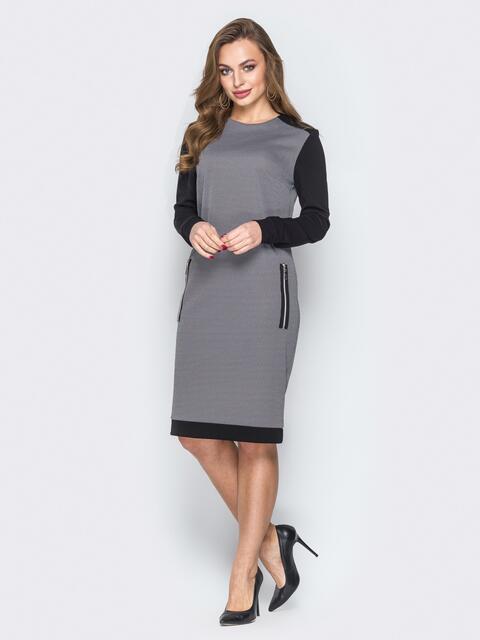 Чёрное платье прямого кроя с контрастными рукавами - 19710, фото 1 – интернет-магазин Dressa