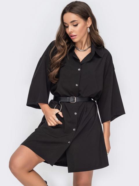 Черное платье-рубашка из софта на пуговицах 53155, фото 1