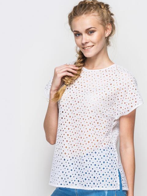 Хлопковая футболка с перфорацией белая - 12867, фото 1 – интернет-магазин Dressa