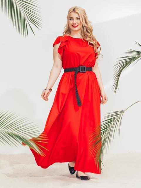 Красное платье в пол большого размера - 46349, фото 1 – интернет-магазин Dressa