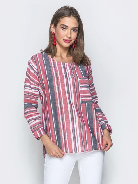 Льняная блузка свободного кроя в полоску красная - 39471, фото 1 – интернет-магазин Dressa