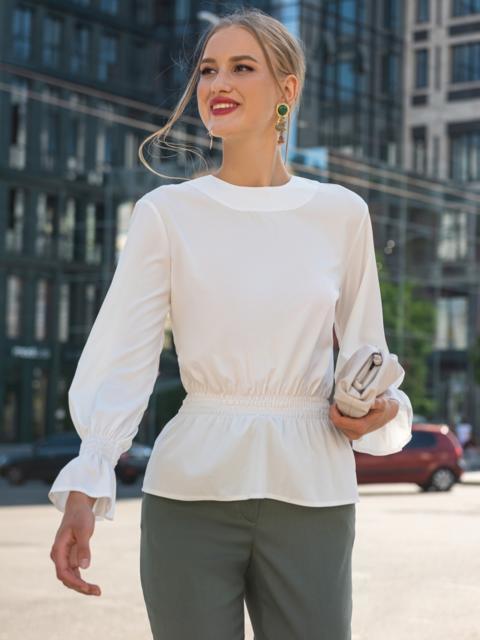 Молочная блузка с вырезом по спинке и бантом 49388, фото 1