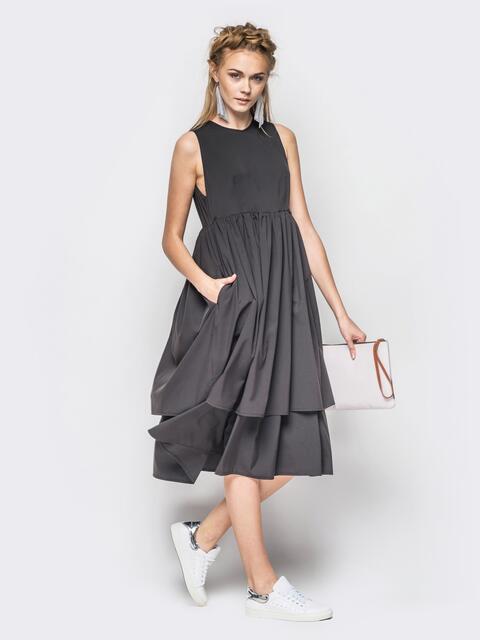 Платье без рукавов с двойным воланом по низу тёмно-серое - 12626, фото 1 – интернет-магазин Dressa