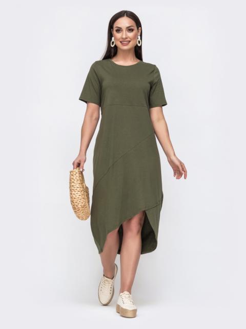 Платье-футболка большого размера с удлиненной спинкой хаки 46333, фото 1