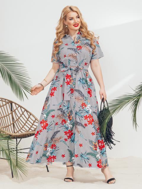 Платье-рубашка большого размера в узкую полосу голубое - 46342, фото 1 – интернет-магазин Dressa