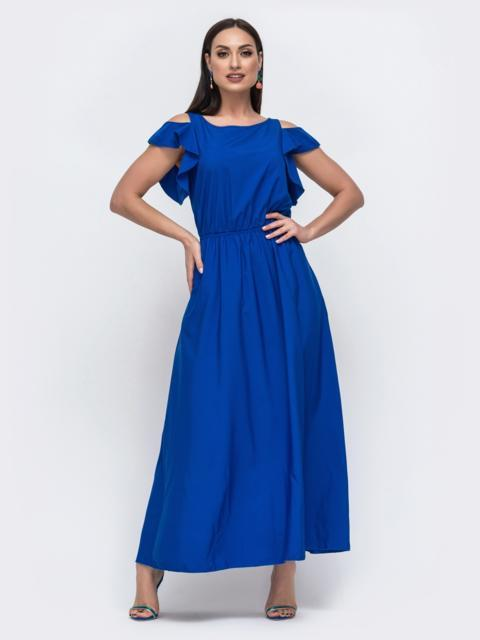 Синее платье в пол большого размера - 46346, фото 1 – интернет-магазин Dressa