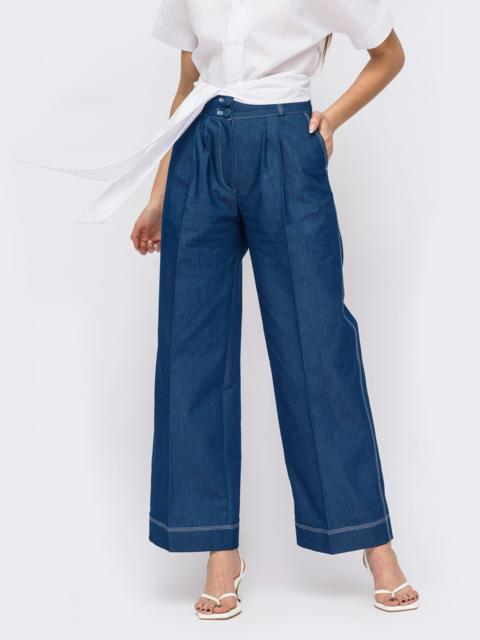 Темно-синие широкие брюки с защипами по переду 53906, фото 1