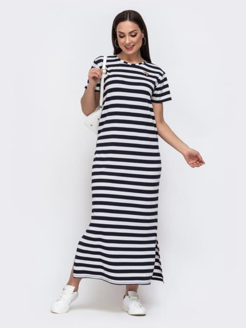 Трикотажное платье большого размера в полоску белое 46338, фото 1