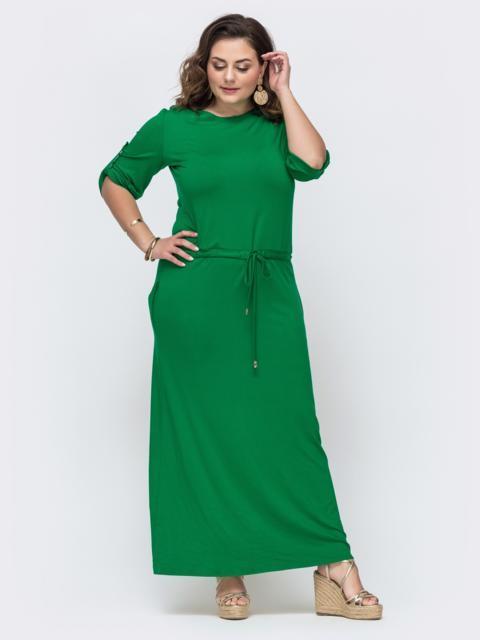Зеленое платье с кулиской в поясе батал 46081, фото 1
