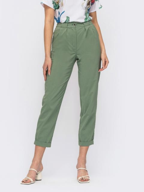 Зелёные укороченные брюки с завышенной талией 53972, фото 1