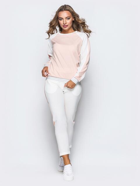 Белый комплект с розовой полочкой на кофте - 16901, фото 1 – интернет-магазин Dressa
