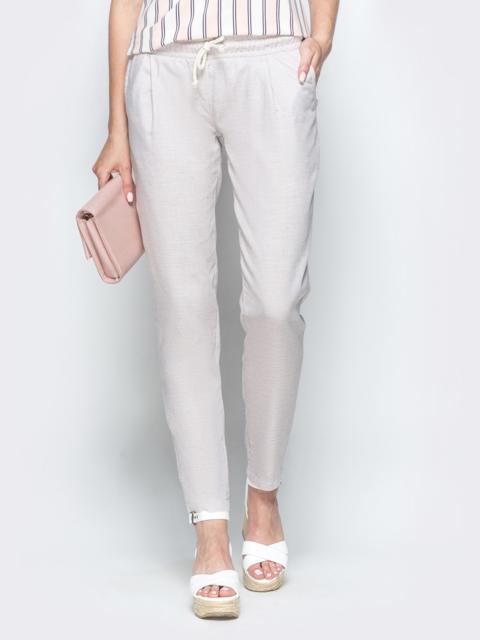 Бежевые брюки из льна с резинкой по талии - 39403, фото 1 – интернет-магазин Dressa