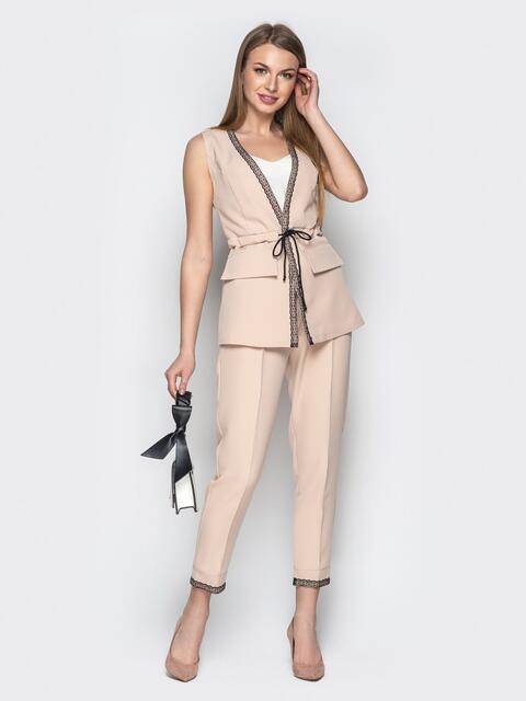 Бежевый комплект из жилета с куликой по талии и брюк - 21152, фото 1 – интернет-магазин Dressa