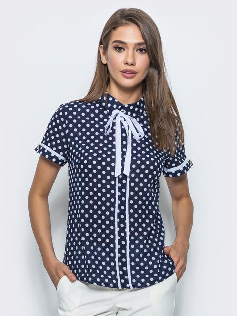 Блузка синяя в горох со съемной завязкой на горловине - 14080, фото 1 – интернет-магазин Dressa