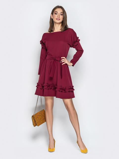 Бордовое платье с рюшами и юбкой-полусолнце - 21157, фото 1 – интернет-магазин Dressa