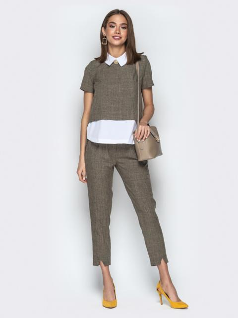 Комплект с кофтой имитирующей рубашку и брюками хаки - 21155, фото 1 – интернет-магазин Dressa