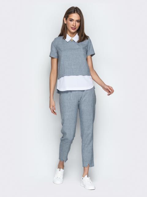 Комплект с кофтой имитирующей рубашку и брюками серый - 21153, фото 1 – интернет-магазин Dressa