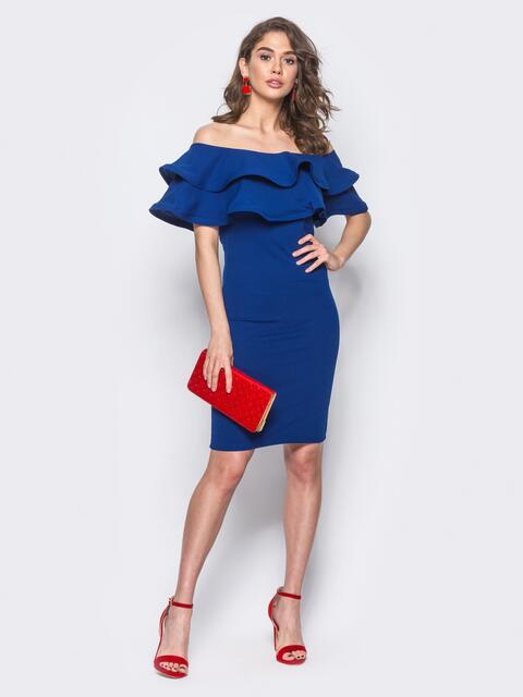 7dc287c5787 Платье-футляр с двойным воланом по горловине синее 11112 – купить в ...
