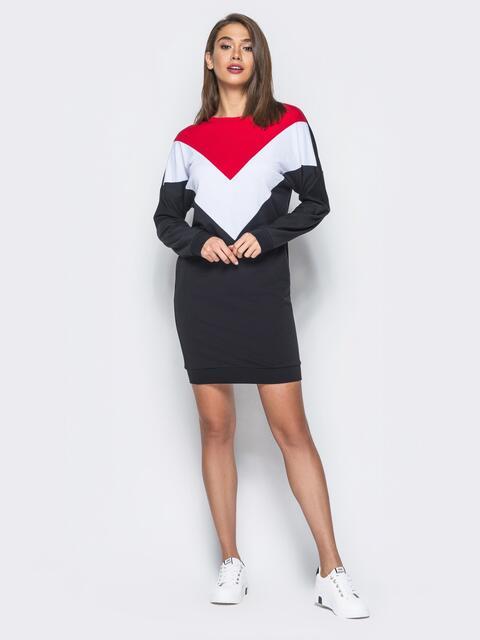 Платье из двунитки с цельнокроеным рукавом - 16438, фото 1 – интернет-магазин Dressa