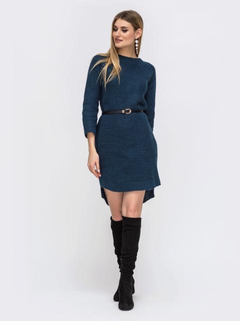 Платье с удлиненной спинкой тёмно-синее - 43128, фото 1 – интернет-магазин Dressa