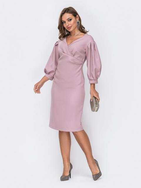 Пудровое платье приталенного кроя с объемными рукавами 52045, фото 1
