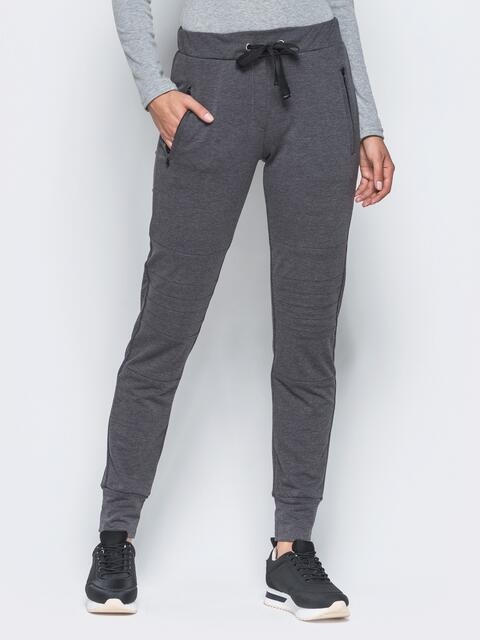 Спортивные штаны с перестрочками на коленях серые - 16538, фото 1 – интернет-магазин Dressa