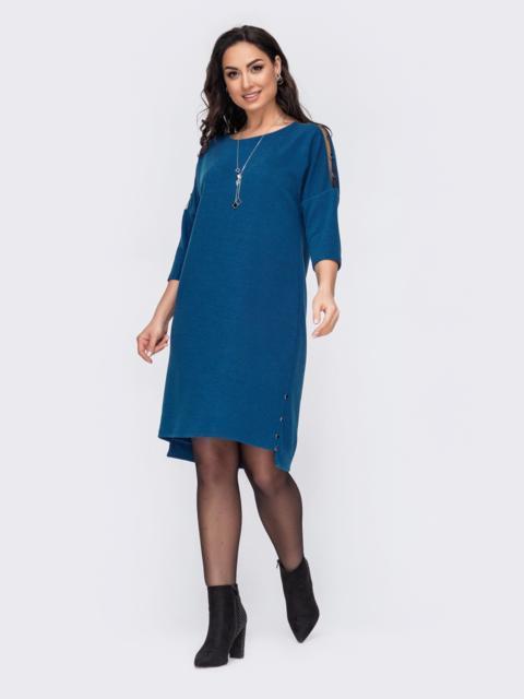 Трикотажное платье батал с удлиненной спинкой бирюзовое 52716, фото 1