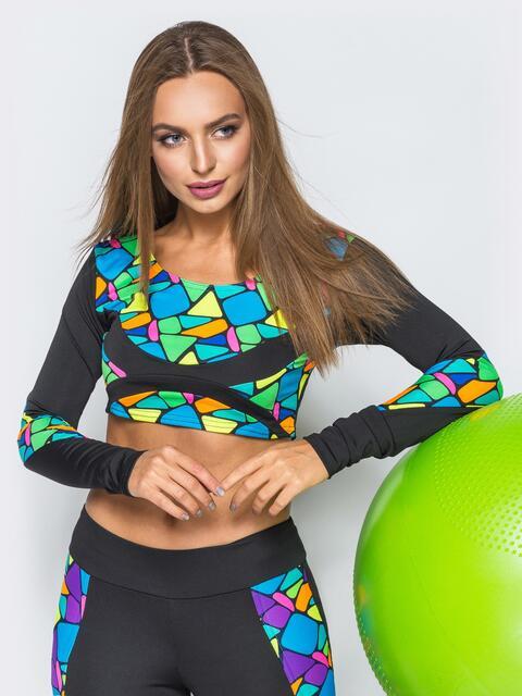 Укороченный лонгслив с геометрическим принтом и черными рукавами - 17213, фото 1 – интернет-магазин Dressa