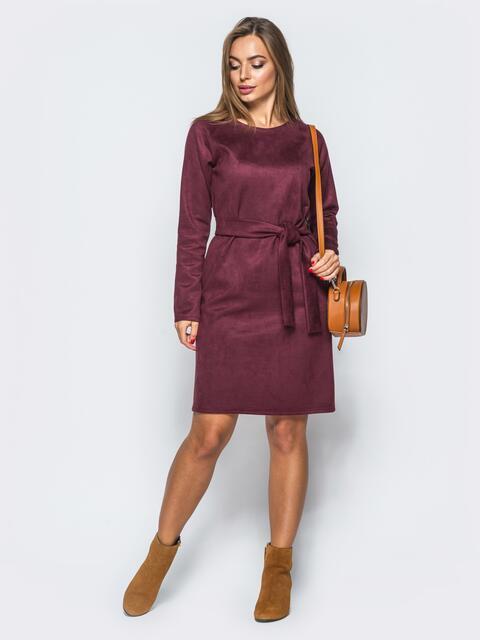 Замшевое платье бордового цвета с поясом в комплекте - 17649, фото 1 – интернет-магазин Dressa