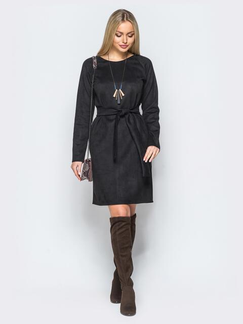 Замшевое платье черного цвета с поясом в комплекте - 17648, фото 1 – интернет-магазин Dressa
