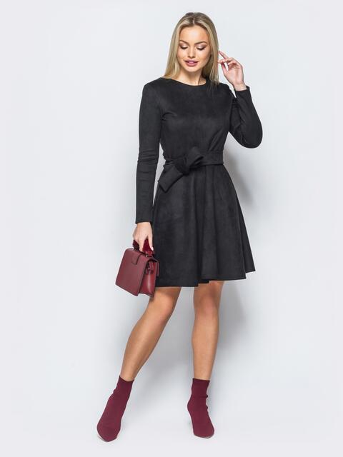 Замшевое платье черного цвета с юбкой-полусолнце - 17646, фото 1 – интернет-магазин Dressa
