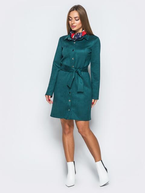 Замшевое платье-рубашка зелёного цвета - 17652, фото 1 – интернет-магазин Dressa