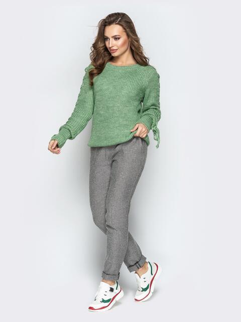 Зелёный свитер с рукавами-реглан и прошитыми косами - 20135, фото 1 – интернет-магазин Dressa