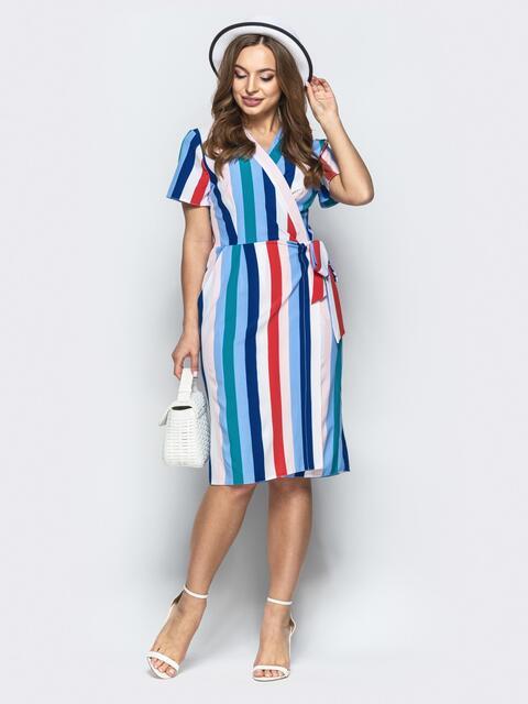 Голубое платье в полоску на запах с карманами - 21496, фото 1 – интернет-магазин Dressa