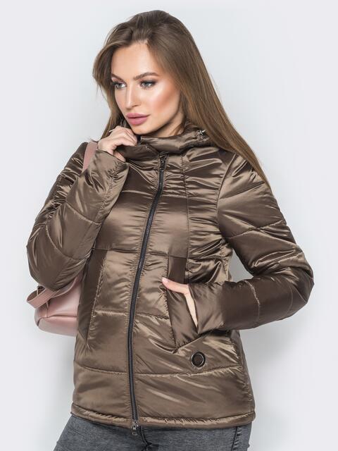 Коричневая куртка на молнии со вшитым капюшоном - 20268, фото 1 – интернет-магазин Dressa