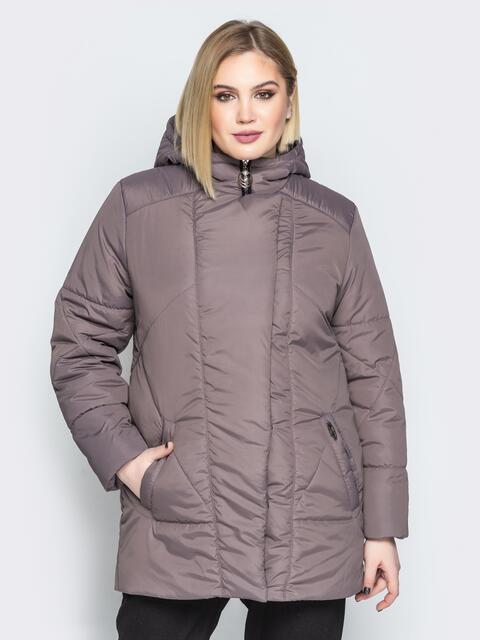 Коричневая куртка с капюшоном и нахлёстом на кнопках - 20083, фото 1 – интернет-магазин Dressa