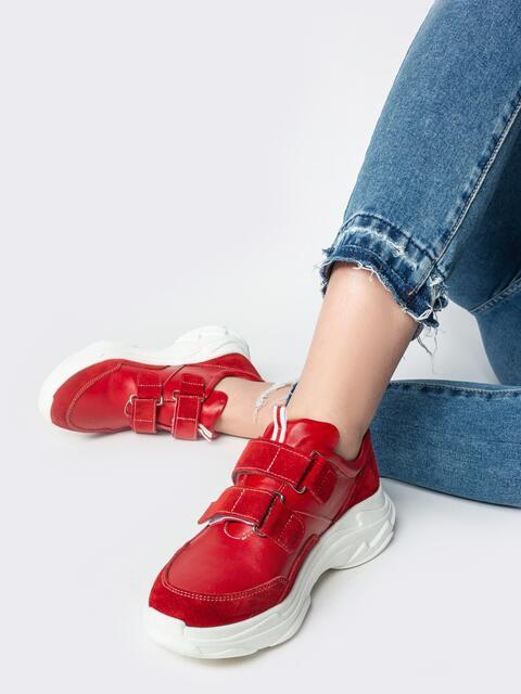 Красные кроссовки на липучках - 21444, фото 1 – интернет-магазин Dressa